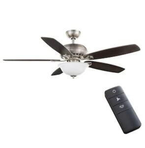 "Hampton Bay Southwind II 52"" LED Indoor Brushed Nickel Ceiling Fan w/ Light Kit"