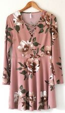Xhilaration Womens Dress Dusty Rose Pink Floral Long Sleeves Boho Country M L