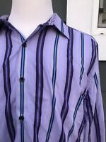 Robert Graham Tailored Fit Lilac Striped 100% Cotton Men's Shirt Size 2XL / 2TG