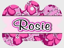 """Personalized PET ID TAG """"PINK FLOWER"""" Printed 2 Sides Protect Your Pet"""