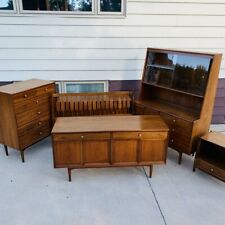 Mid-Century Modern 5 Piece Kipp Stewart Drexel Declaration Walnut Furniture Set