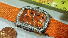 Louis Arden Quartz Rectangle watch Nylon Orange band Dial Crystals Girls Woman