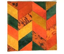 SURYA Rug Leather Hair on Hide Hand Craft Carpet Tile Orange Green Yellow 18x18