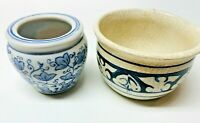 PAIR OF SMALL VINTAGE BLUE & WHITE POTTERY STONEWARE CERAMIC POTS FOR PLANT SUCC