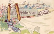 "pre-1907 SWIFT'S PRIDE SOAP - ""See you next week"" - clothespins on line"