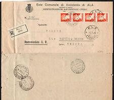 STORIA POSTALE LUOGOTENENZA 1945 Raccomandata da Ala a Brentino Belluno (FGA)