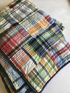 Pottery Barn Kids Twin Quilt Madras Plaid Red Blue Boys Reversible Striped