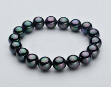 new 10mm Natural Black South Sea Shell Pearl Round Beads Stretch Bracelet 7.5""