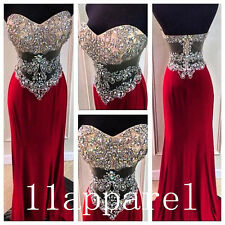 Crystal Sweetheart Long Red Prom Dresses Sexy Beading Evening Party Pageant Gown