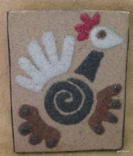 """Sand Paper Painting Chicken Rooster 4.5 x 5.5"""" Hand Made"""