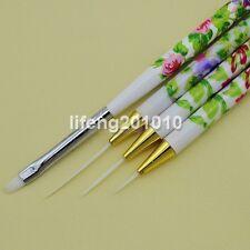 4PCS Nail Art Brush Set Acrylic Drawing Painting Liner Pen Nail Brushes Tool NEW