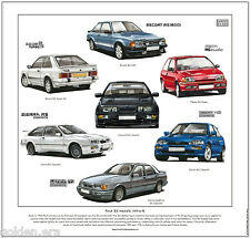 FORD RS MODELS 1983 to 92 - Fine Art Print - Escort Sierra Cosworth Fiesta Turbo