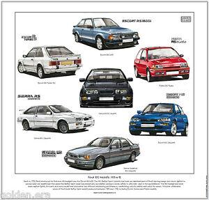 FORD RS MODELS 1983 to 92 - Fine Art Print - Escort Sierra Cosworth Fiesta Turbo