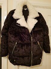 River Island black crushed velvet white fur trim biker puffer coat, Size 10 New