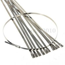 10x 45cm Stainless Steel Locking Cable Zip Tie For Exhaust Pipe Header Wrap Tape