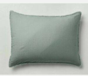2 Casaluna Pillow Shams Heavyweight Linen Blend Sage Green king