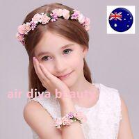 Women Pink flower Girl Fairy Wedding Bride Hair Headband Crown Garland bracelet