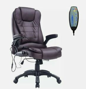 ^ PU Leather Office Chair W/Massage Function, High Back- Swivel Brown 9:21