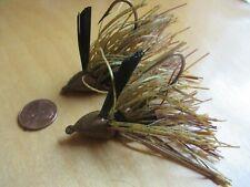 2 Custom Rattle Jigs 3/4 oz Weedless Bass Fishing Lure Green Pumpkin Crawdad Jig
