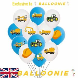Tractor Digger Vehicle Truck Latex Birthday Construction Balloons Party Crane