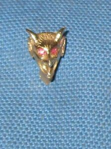 SOLID 14K YELLOW GOLD DEVIL FACE TIE TAC PIN W RUBBIES- 2.7 GRAMS
