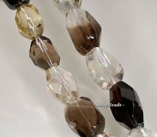 22X20MM  LEMON SMOKY QUARTZ GEMSTONE FACETED NUGGET LOOSE BEADS 7""