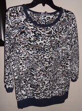 JENNIFER LOPEZ M Blue/White/Tan Animal Print Chiffon Mixed Media Knit Trim Top