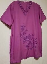 Dashiki Long Top /  Short Dress, Purple w/ Sateen Embroidery, Short Sleeves, M-L