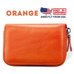Women's Leather Credit Card Holder Accordion Style Zip Around Wallet