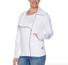 Peace Love World Amal Jacket with Asymmetric Zipper Front - Large - White