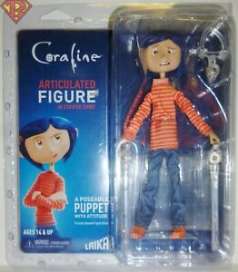 "CORALINE (STRIPED SHIRT) 7"" inch Poseable Articulated Doll Figure Neca 2019"