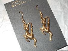 VINTAGE GOLD TONE HIGH KICK DANCER DROP EARRINGS UNWORN