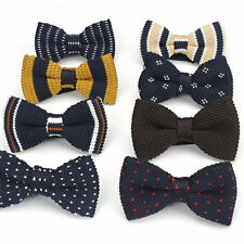 Vintage Men's Knit Bow Tie Adjustable Knitted Bowtie Knitting Striped Butterfly