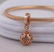 Genuine Pandora ALE R MET Rose Gold Openwork Heart Ball Charm 787255 PC70