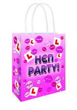 6 Hen Party Paper Bags - Handles Luxury Sweet Loot Lunch Gift Pink Handles