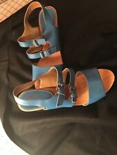 ANTHROPOLOGIE SVEABORG PICNIC CLOGS BLUE LEATHER LUCKY PENNY SHOES 10 B