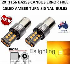 2X NEW BA15S 1156 P21W 2835 15 LED TURN SIGNAL INDICATOR CANBUS BULB GLOBE AMBER