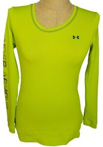 Under Armour All Season Gear Womens Neon Yellow Fitted Long Sleeve Top Medium