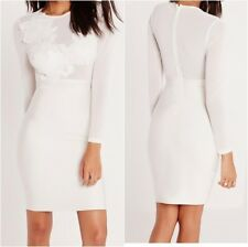 Missguided Premium Bandage Lace Applique Midi Dress White  Uk 10 US 6  (camg78)
