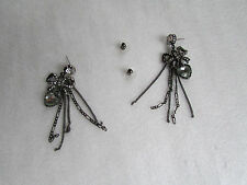 Betsey Johnson Earrings Hematite Clear Crystals NEW
