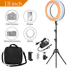 "18"" LED Ring Light with Stand Kit Dimmable lighting for Phone Camera Makeup live"