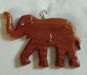 Elephant Thai Wooden Wall 3 Hanger Hooks Key Holder Office Home Decor Souvenir