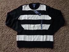 CHAPS women's NWT sz XL black/white striped front long sleeve knit sweater