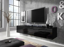 Floating TV Unit Cabinet Stand Rocco 160 cm Body Matte Black / Door Gloss Black