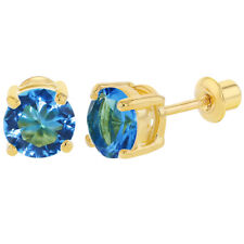 18k Gold Plated March Blue CZ Round Screw Back Earrings for Girls 6mm