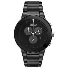 Citizen Eco-Drive Men's Axiom Chronograph Black Bracelet 43mm Watch AT2245-57E