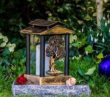 Grablicht 26cm Grablaterne Lampe Grableuchte Glas Grabschmuck Garten bronze 15