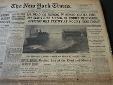 1934 SEPT 10 NEW YORK TIMES - 156 DEAD OR MISSING IN MORRO CASTLE FIRE - NT 5909