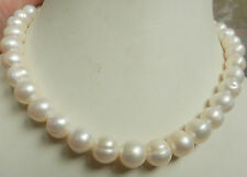 "Solid Gold Clasp 10-11MM White Akoya Pearl Necklace 18"" A+"