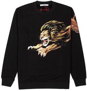 Givenchy Leo Slim Fit Lion Print Sweatshirt Top Signature Black